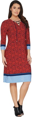 Susan Graver Printed Liquid Knit Dress with Lacing