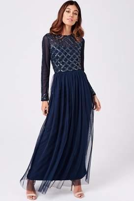 Little Mistress Luxury Natasha Navy Hand-Embellished Sequin Maxi Dress