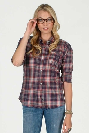 Rails Devyn Plaid Shirt in Navy/Pink