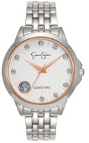 Thumbnail for your product : Jessica Simpson Women's Genuine Blue and White Topaz Silver Tone Bracelet Watch 38mm