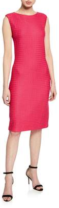 St. John Box Textured Sleeveless Bateau-Neck Dress