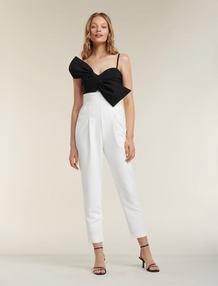 Forever New Gabriella Bow-Bodice Jumpsuit - Black White - 10