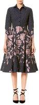 Carolina Herrera Elbow-Sleeve Floral Jacquard Shirtdress