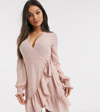 John Zack Petite wrap front frilly tea dress in pink metallic fleck print