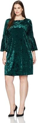Julian Taylor Women's Plus Size Full Figure Long Rouched Sleeve Velvet Dress