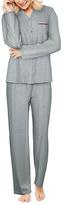 Hanes Heather Gray Button-Up Pajama Set