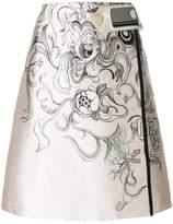 Prada printed A-line skirt