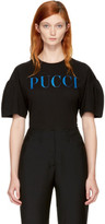 Emilio Pucci Black and Blue Glitter Logo T-shirt