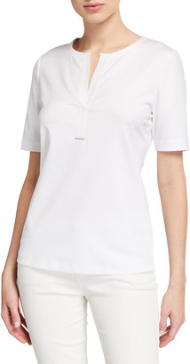 Lafayette 148 New York Gretel Short-Sleeve Swiss Stretch-Cotton Crewneck Top w/ Chain Detail
