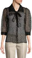 Jill Stuart Women's Sheer Metallic Polka-Dot Blouse