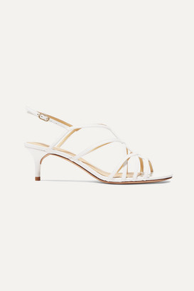 Alexandre Birman Emma Cage Leather Sandals - White