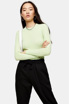Topshop Womens Green Premium Long Sleeve Top - Green