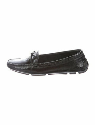 Prada Signature Logo Leather Loafers Black