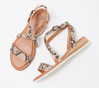 Zodiac Leather Demi-Wedge Sandals - Angelica