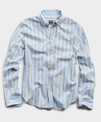Todd Snyder Blue Stripe Button Down Collar Long Sleeve Shirt
