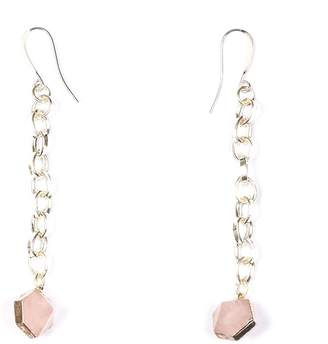 Tiana Jewel Rose Quartz Capsule Chain Earrings Silver