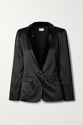 CAMI NYC Audrey Velvet-trimmed Silk-charmeuse Blazer - Black