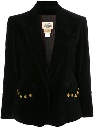 Hermes Pre-Owned gold-tone studs long sleeve jacket