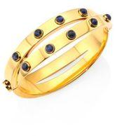 Tory Burch Lapis & Metallic Leather Double-Wrap Bracelet