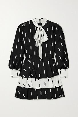 Alice + Olivia Dasha Pussy-bow Tiered Printed Crepe Mini Dress - Black