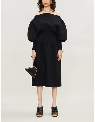 Bottega Veneta Nero Black Balloon-Sleeve Stretch-Jersey Midi Dress, Size: 6