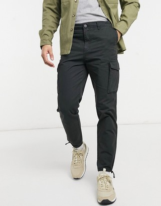 Selected cargo pant with cuffed hem in black