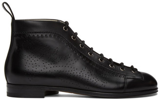 Gucci Black Brogue Lace-Up Boots