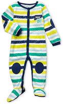 Petit Lem Newborn/Infant Boys) Stripe Knee Pad Footie