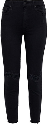 Mother The Looker Distressed Printed Mid-rise Skinny Jeans