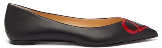 Christian Louboutin Cl-logo Point-toe Leather Flats - Black