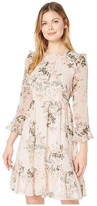 Calvin Klein Floral Print Chiffon Dress with Ruffle Cuff and Hem (Blossom Multi) Women's Dress