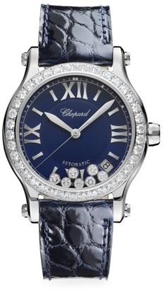 Chopard Happy Sport Diamond Stainless Steel & Leather Strap Watch