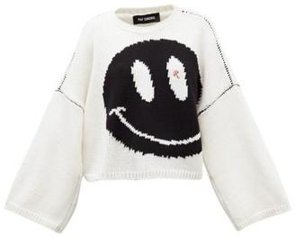Raf Simons Smiley-intarsia Cropped Wool Sweater - Womens - White