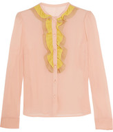 RED Valentino Ruffled Stretch-silk Mousseline Blouse - Baby pink