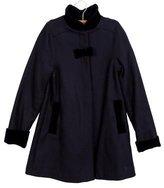 Tartine et Chocolat Girls' Velvet-Trimmed Wool Coat