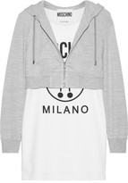 Moschino Hooded Printed Stretch-cotton And Jersey Mini Dress - White