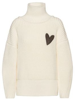 HUGO BOSS Relaxed-fit sweater in virgin wool with heart motif