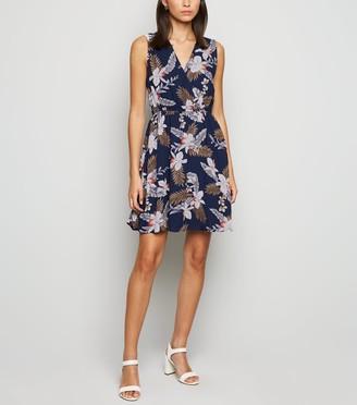 New Look Mela Tropical Leaf Print Skater Dress