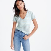 J.Crew Linen V-neck pocket T-shirt in stripe