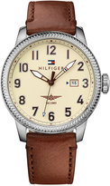 Tommy Hilfiger Men's Casual Sport Brown Leather Strap Watch 42mm 1791315