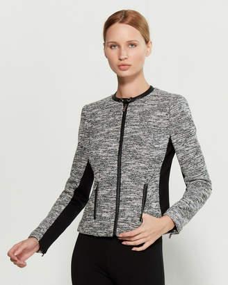 Calvin Klein Black & White Full-Zip Tweed Jacket
