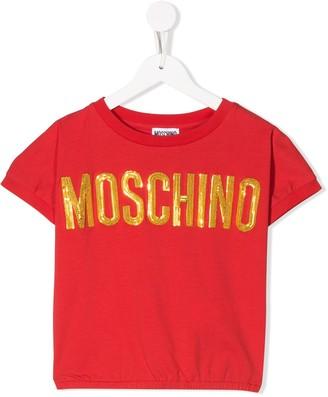 MOSCHINO BAMBINO TEEN embellished logo T-shirt