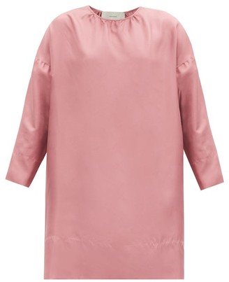 ASCENO The Quinta Cropped-sleeve Silk-twill Dress - Dusty Pink