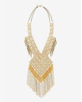 Express diamond filigree and fringe bib necklace