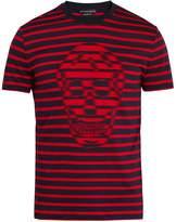 Alexander McQueen Skull-jacquard striped crew-neck cotton T-shirt