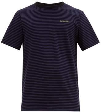 Saturdays NYC Brandon Feeder Striped Cotton T Shirt - Mens - Black Multi