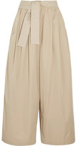 Tome Cropped Cotton-twill Wide-leg Pants - Beige