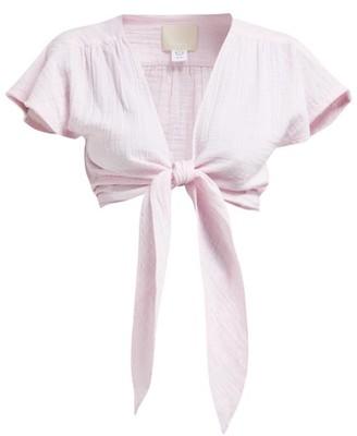 Anaak - Maithili Tie-front Cotton-muslin Top - Womens - Pink