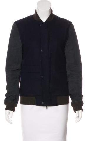 Armani Exchange Leather-Accented Wool Jacket