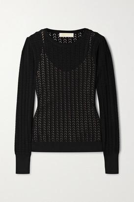 MICHAEL Michael Kors Pointelle-knit Sweater - Black